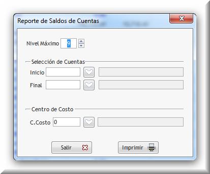 Al imprimir, permite seleccionar un rango de cuentas o un centro de